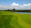 The par-5 second hole, with water running down the entire left side, is one of the tougher holes on Mauna Lani Resort's South Course.