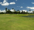 The finishing hole on the B side of Hawaii Prince Golf Club has two water hzards on the way to a green 440 yards away.