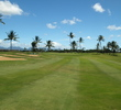 A pair of bunkers down the left side are to be avoided on the sixth hole of the A side at the Hawaii Prince Golf Club.