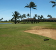 The green on the ninth hole on the A side of Hawaii Prince Golf Club is well protected by water and sand.