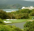 Makai Golf Club's par-3 third hole is a short shot from an elevated tee to the green.