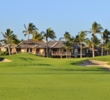 Bunkers and mounds frame the second hole of the South golf course at Mauna Lani Resort.