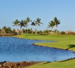 Water up the left side causes cautious approach shots to the fourth green of the South Course at Mauna Lani Resort.