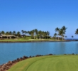 A pond swallows short misses on the 12th hole of the South Course at Mauna Lani Resort.