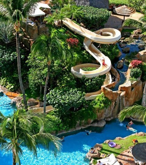 westin maui resort and spa water slide - Cool Pools With Waterfalls And Slides