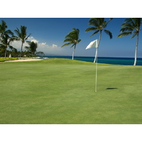 The Pacific Ocean backdrop encourages you to take your time on the seventh hole at the Waikoloa Resort Beach Course.