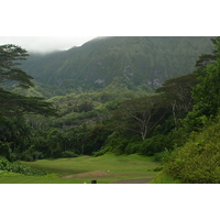 The towering Koolau Mountains are a spectacular backdrop to Luana Hills Golf Club on Oahu.