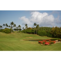 The par-3 eighth hole on Kauai Lagoons plays downhill to a green guarded by water.