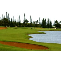 The par-5 fourth hole at the Prince Course at Princeville resort is reachable in two but guarded by water on the right.