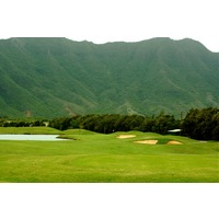 Puakea Golf Club's par-4 third hole is short and plays towards the mountain.