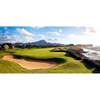 Black, ancient stone rock walls, known as heiaus, can be spotted at numerous spots at Poipu Bay Golf Course on Kauai's south shore.