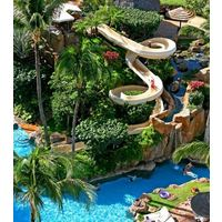 The Westin Maui Resort And Spa's pool area features five swimming pools, two water slides, a swim-through grotto with twin waterfalls and a hidden whirlpool.