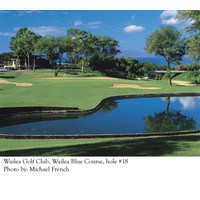The 18th hole on the Old Blue course at Wailea Golf Club is a short, downhill par 3.