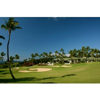 The 18th hole on the Gold Course at Wailea Golf Club is a downhill par 4.