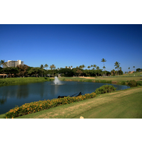 Royal Ka'anapali golf course's 17th hole is a short par 4 played over water.