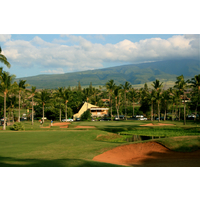 The 18th hole at Ka'anapali Kai is a tricky, dogleg left par 4.