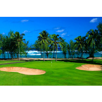 The 11th hole is one of four holes with ocean views on the Fazio Course at Turtle Bay Resort.