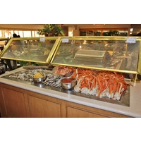 The seafood buffet at the Prince Court restaurant of the Hawaii Prince Hotel Waikiki attracts a crowd at dinner.