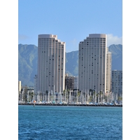 The Hawaii Prince Hotel Waikiki features two towers overlooking the ocean.