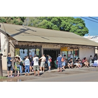 Tourists flock to the Matsumoto Grocery Store in Haleiwa near Oahu's North Shore for some shaved ice.