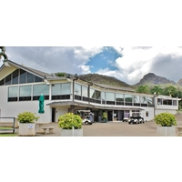 This clubhouse serves as home base for Olomana Golf Links on Oahu.