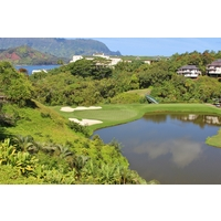 The third hole at Makai Golf Club at Princeville plummets downhill.