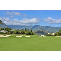 The par-5 second hole at Makai Golf Club at Princeville stretches to 611 yards.