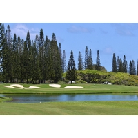 Water protects the 18th green at Makai Golf Club at Princeville.