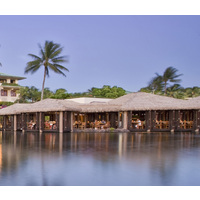 Lagoons filled with fish surround the Tidepools Restaurant at the Grand Hyatt Kauai Resort & Spa.