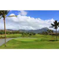 One of the most scenic inland holes at Poipu Bay Golf Club is the short par-4 13th.